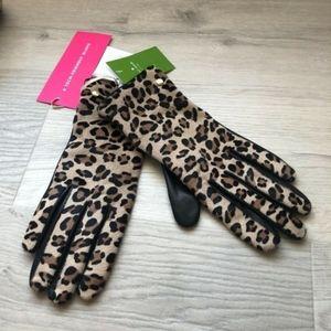 Kate Spade Set Leopard Print Leather gloves & Hat